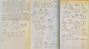Hand-drawn images and old writing on parchment-like paper