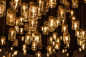 yellow lightbulbs hanging down